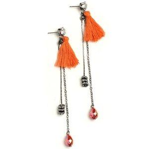 Earrings with tassel & gemstone black, pink,purple